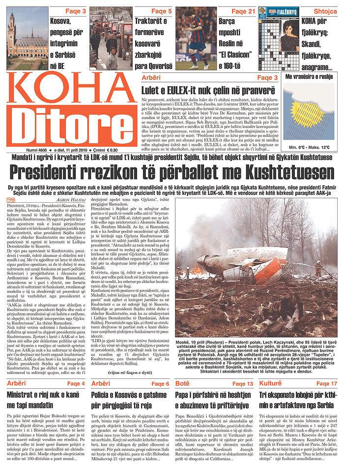 Koha Ditore, published in Pristina, Kosovo